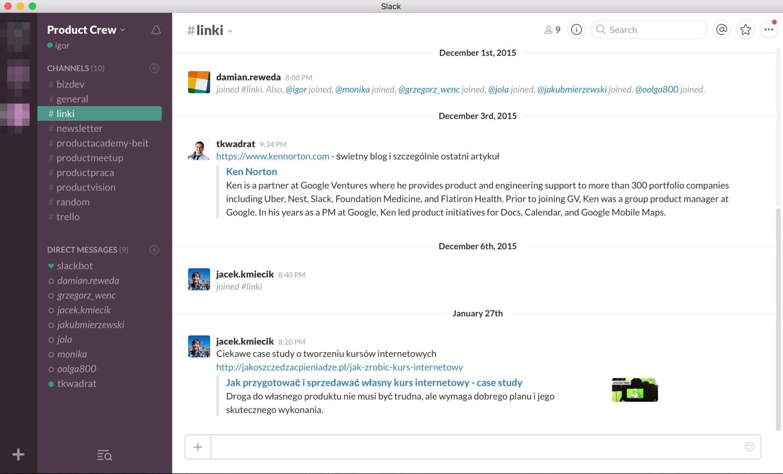 Ekran główny narzędzia Slack